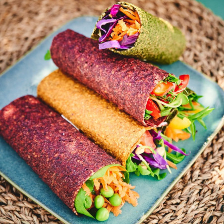raw dehydrated vegetable wraps